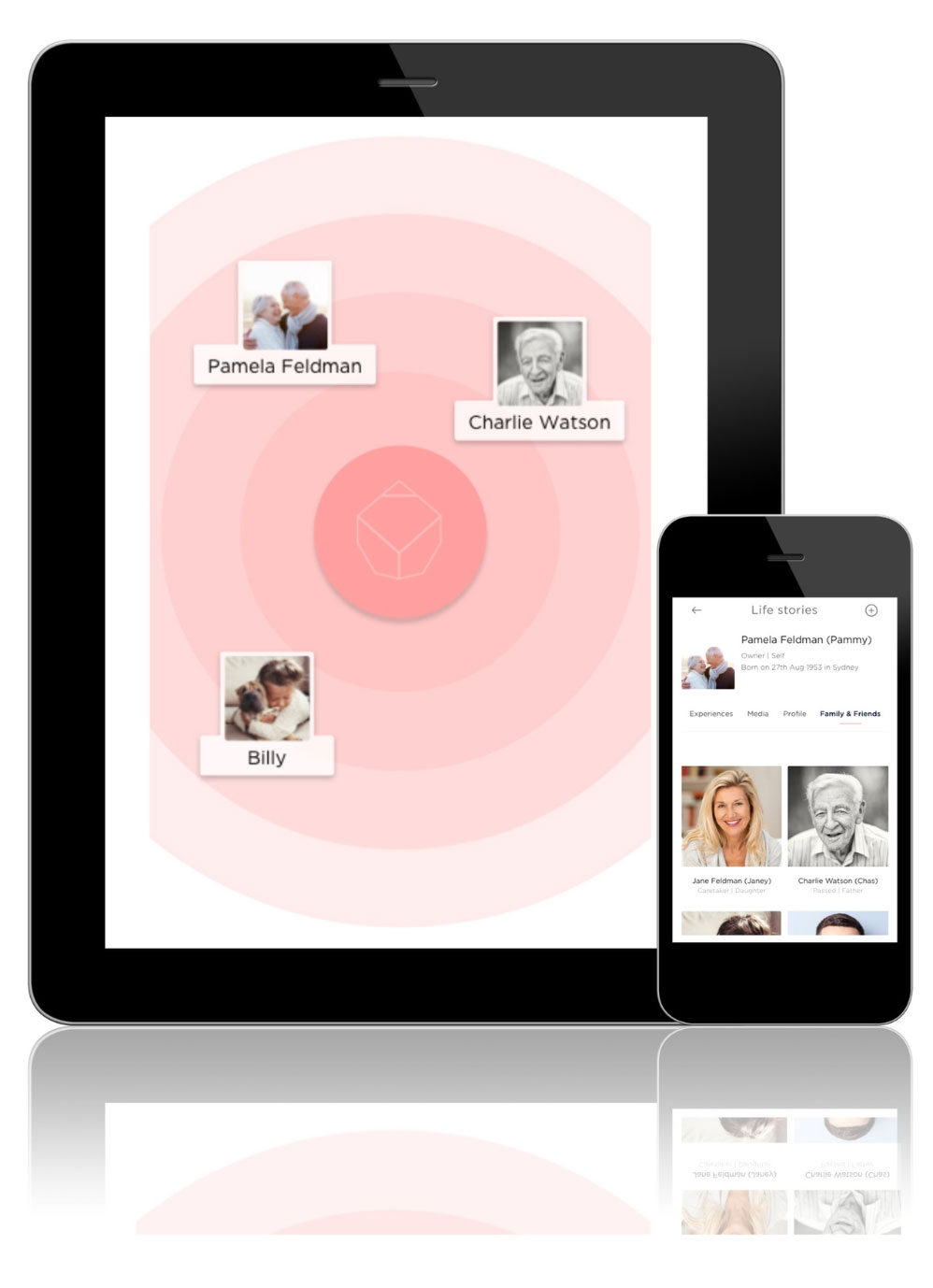 example of smart memorial app on tablet and phone